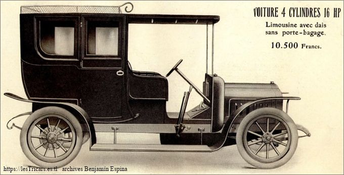 Ivry, voiture 4 cylindres 16 HP Limousine