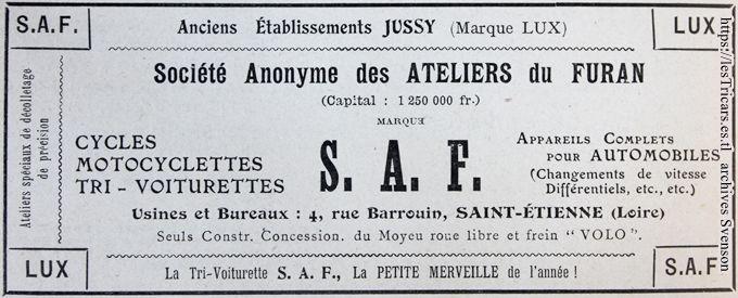 SAF - Société anonyme des Ateliers du Furan, publicité 1907