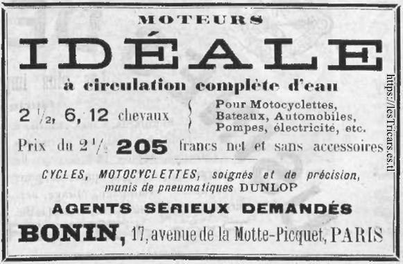 Bonin, publicité pour le moteur Idéal, 1903