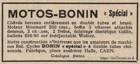 1927, publicité pour la motocyclette Bonin, Caen