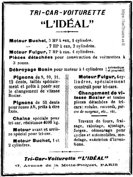 Tricar-voiturette L'Idéal 1906, publicité