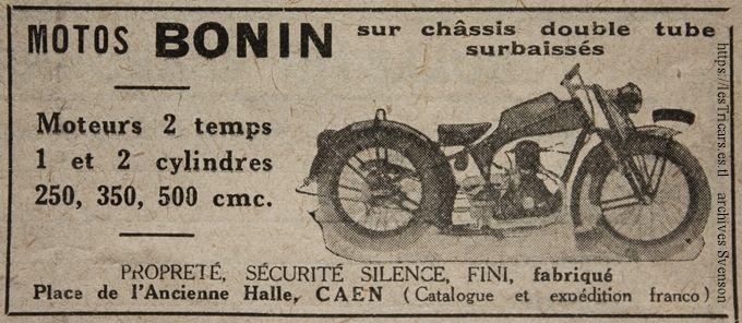 1927, publicité pour la motocyclette Bonin, Caen, avec dessin de la moto
