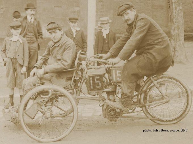 tricar La Française lors du concours des tricars 1905 avec le pilote Bonnevie