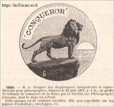 """Marque avec un lion, déposée en 1901 par la Societé """"Le Phonographe Français""""."""