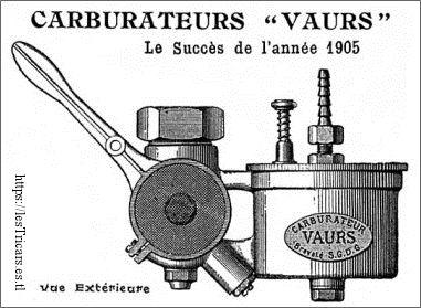 Carburateur Vaurs, dessin 1905
