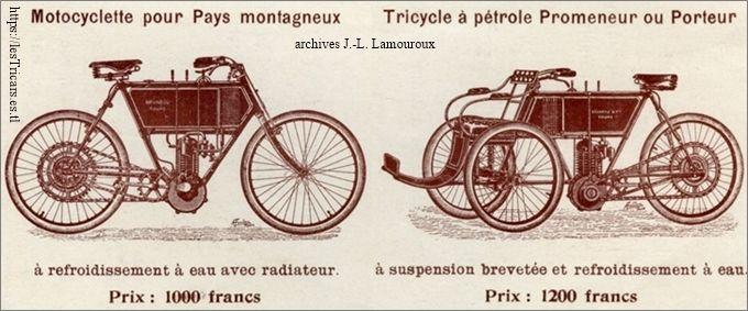 tricar et moto Bruneau 1904