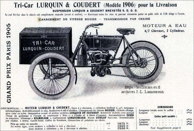 Le tricar Lurquin et Coudert modèle livraison 1906
