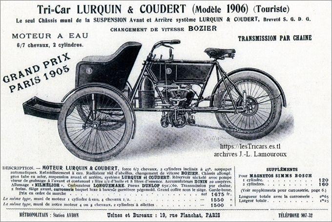 Lurquin-Coudert, tricar 1906