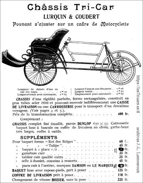 Le châssis du tricar Lurquin & Coudert 1906