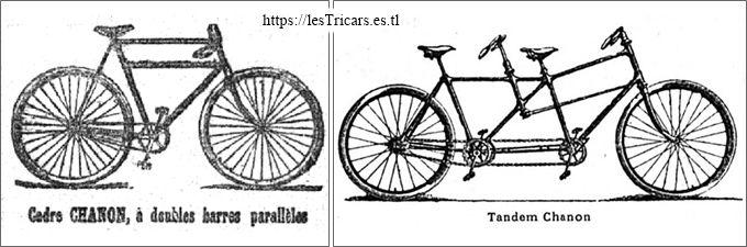 publicité pour le tandem Chanon et la bicyclette à doubles barres, 1896