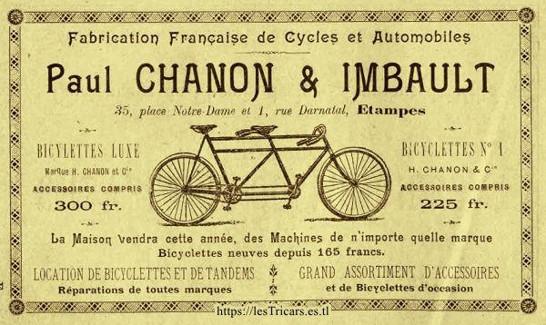 Paul Chanon et Imbault, concessionnaire des cycles Chanon à Etampes. Publicité de 1902