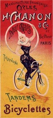 affiche cycles H. Chanon & Cie et pneu Gallus. Femme artiste sur une bicyclette à doubles barres.