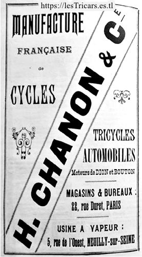 Chanon, cycles, tricycles, automobiles. Publicité 1902