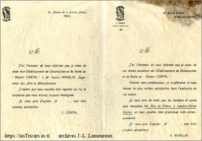 Contal et Hamelin, communiqué comun lors de la succession, 1908