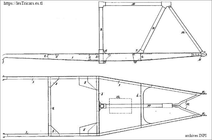 Mototri Contal, modèle 1907, châssis, dessin