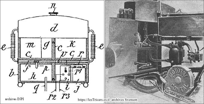 Le coffre-armoire du tricar Contal 1905, dessin et photo du côté gauche