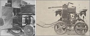 tricar Contal, détail, et quadricycle automobile sur rails fabriqué par Contal