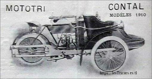 mototri Contal, modèle 1910 à suspension arrière. Dessin