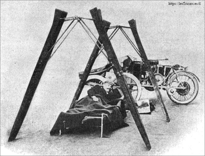 Paris-Pékin 1907: Tricar Contal équipé pour le raid: le tent