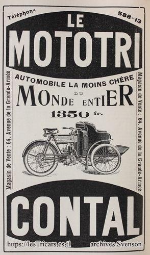 1906, publicité mototri Contal