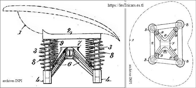 Mototri Contal, modèle 1907, siège breveté par Contal