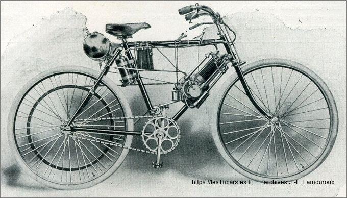 Bicyclette à pétrole construite par Doué Lyon. Type L 1904