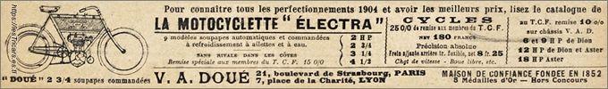 """motocyclette """"Electra"""", construit par Doué à Lyon, réclame de 1904 avec dessin"""