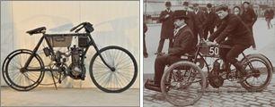 motocyclette Gaston Doué 1903 et tricar Doué 1904