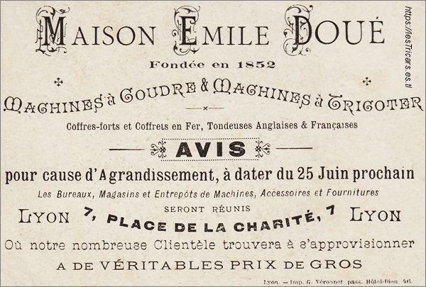 carte publicitaire de la maison Émile Doué, Lyon.