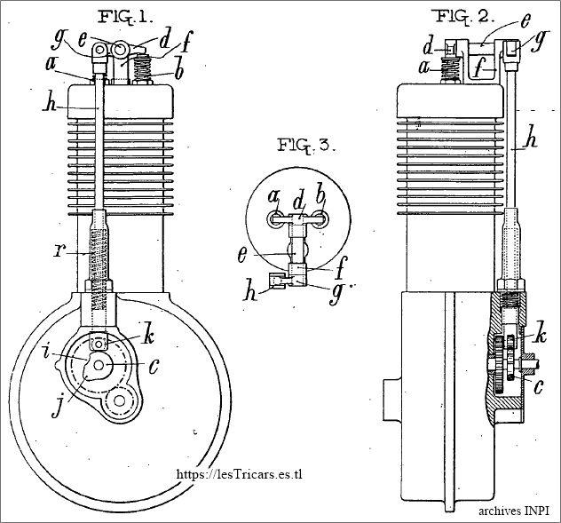 dessins du brevet d'Emile Loire, moteur Monarque, 1903