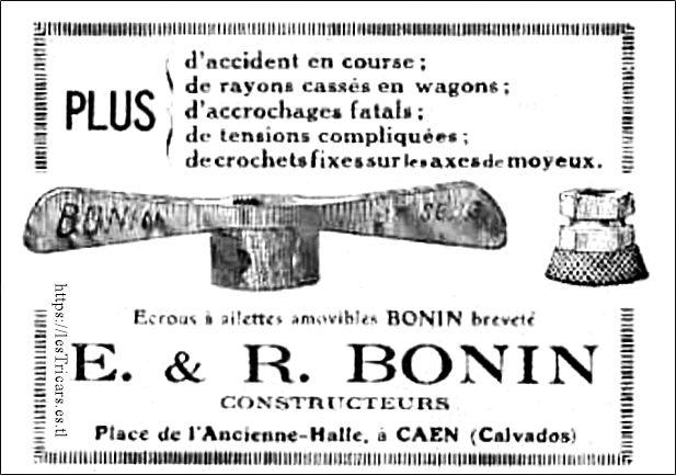 Écrous à ailettes, fabriqués par Bonin à Caen