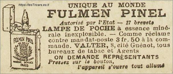 Fulmen Pinel, briquet, publicité Valter 1906