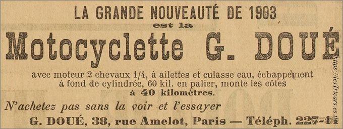 réclame de 1903 pour la motocyclette G. Doué