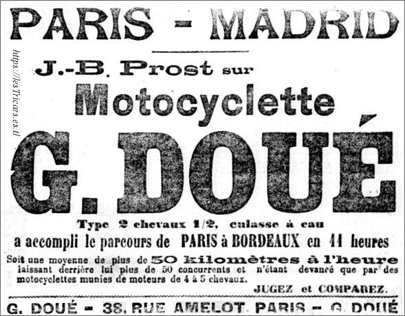 publicité pour la motocyclette G. Doué, 1903