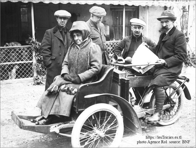 Rivierre et sa femme sur tricar Contal en 1913