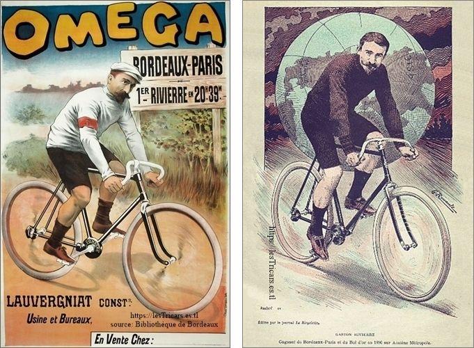 deux affiches, Rivierre sur bicyclette acatène La Métropole et Omega