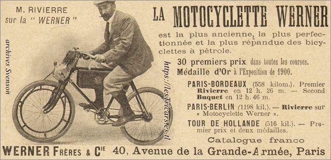 publicité pour la motocyclette Werner de 1901 avec photo de Rivierre