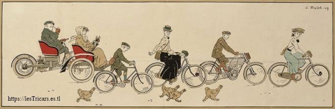 dessin humoristique par Jean Matet, 1909: Ballade en véhicules Griffon, trivoiturette, moto, vélos.