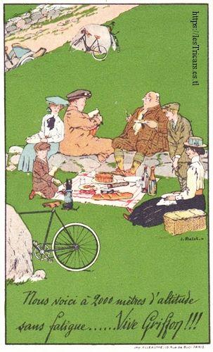 dessin humoristique par Jean Matet, 1910: Ballade en véhicules Griffon, le piquenique