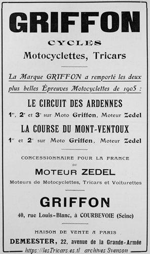 Griffon et moteur Zedel, publicité 1906