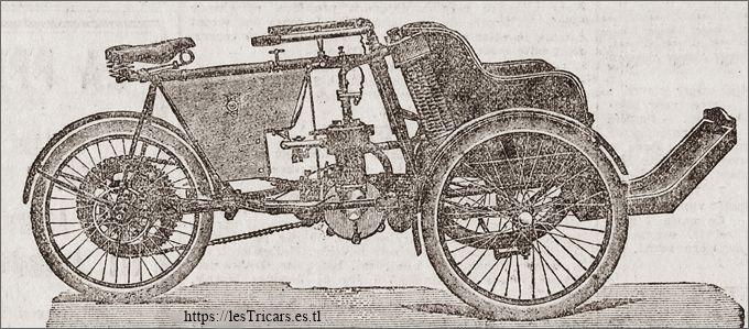 tricar Griffon, publicité de 1906, détail: dessin du tricar