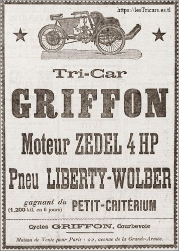 tricar Griffon, moteur Zedel 4HP, 1906