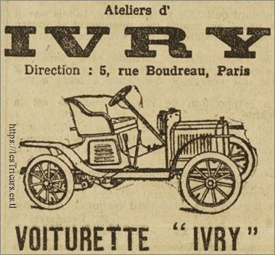 publicité pour la voiturette Ivry, 1908
