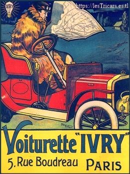 affiche représentant une voiturette Ivry