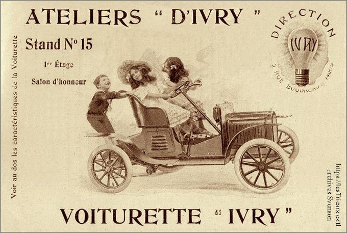 dessin publicitaire d'une voiturette Ivry conduite par trois enfants