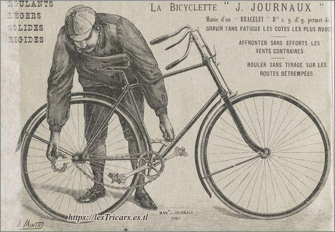 La bicyclette Journaux, 1893, démonstration du changement de vitesse à l'aide du pignon bracelet.