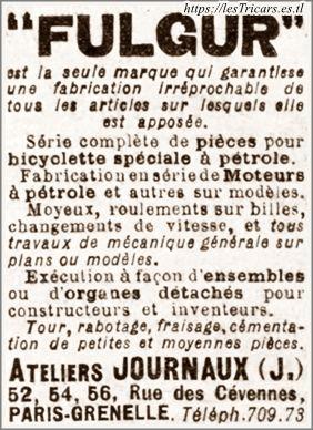 """Jean Joachim Journaux, publicité pour les produits commercialisés sous la marque """"Fulgur"""" en 1907"""