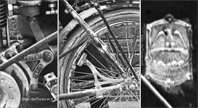 moto La Foudre 1904 Paris-Bordeaux-Paris, details patte, frein, écusson