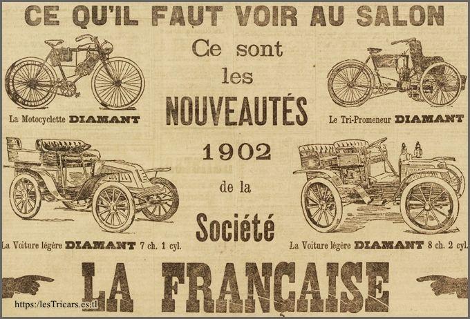La Française Diamant, les nouveautés du Salon 1902: moto, tricar, voiturette