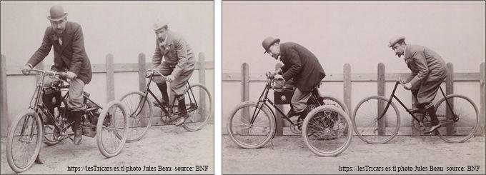 Léonce Girardot sur un mototricycle et Gaston Rivierre sur bicyclette. Photos Jules Beau 1897 ou 98